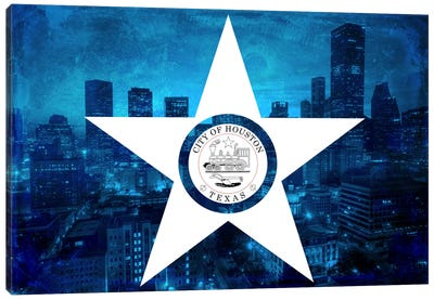 City Flag Overlay Series: Houston, Texas (Downtown Skyline) Canvas Art Print