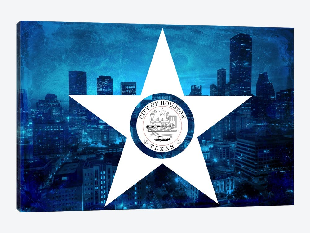City Flag Overlay Series: Houston, Texas (Downtown Skyline) by iCanvas 1-piece Canvas Art