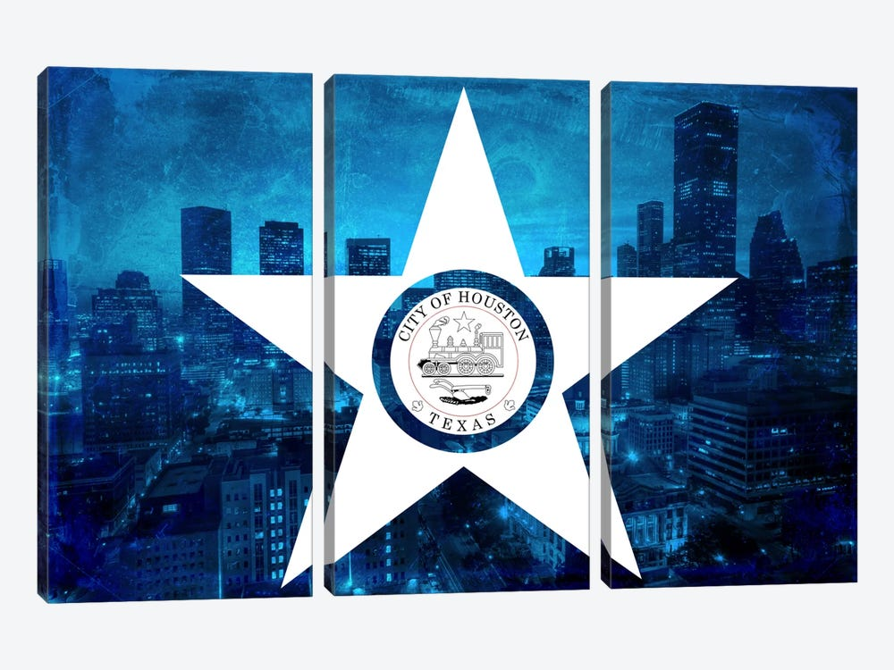 City Flag Overlay Series: Houston, Texas (Downtown Skyline) by iCanvas 3-piece Canvas Artwork
