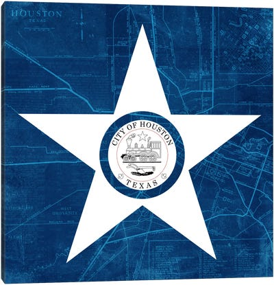 City Flag Overlay Series: Houston, Texas (Roadway Blueprint) Canvas Art Print