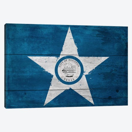Houston, Texas City Flag on Wood Planks Canvas Print #FLG114} by iCanvas Canvas Print