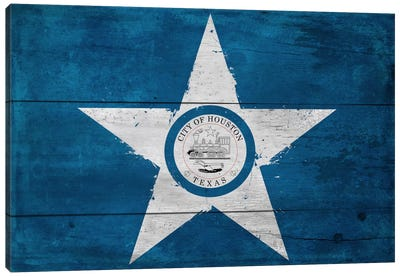 Houston, Texas City Flag on Wood Planks Canvas Art Print