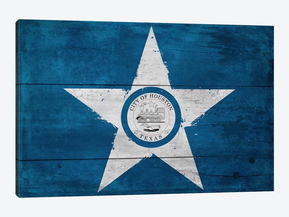 Houston, Texas City Flag on Wood Planks by iCanvas 1-piece Canvas Wall Art