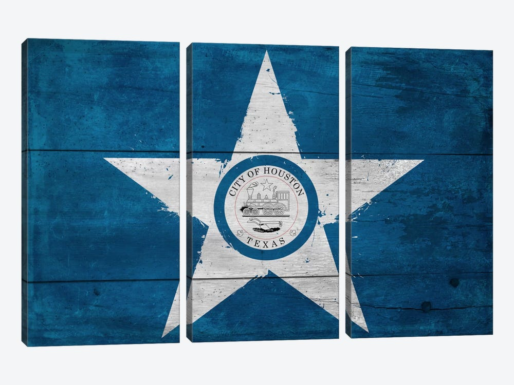 Houston, Texas City Flag on Wood Planks by iCanvas 3-piece Canvas Wall Art
