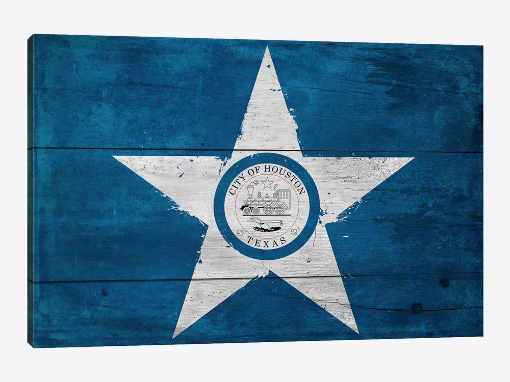 Houston, Texas City Flag on Wood Planks by iCanvas 1-piece Canvas Wall Art