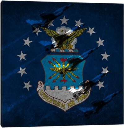 "U.S. Air Force Flag (Air Demonstration Squadron ""Thunderbirds"" Background) Canvas Art Print"