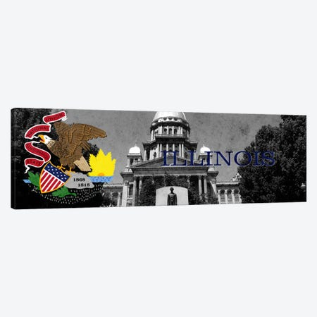 Illinois (Capitol Building in Zoom) Panoramic Canvas Print #FLG123} by iCanvas Art Print