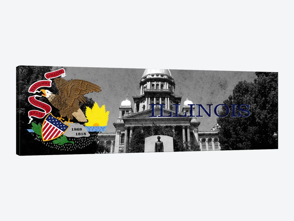 State Flag Overlay Series: Illinois (Capitol Building in Zoom) Panoramic by iCanvas 1-piece Canvas Artwork