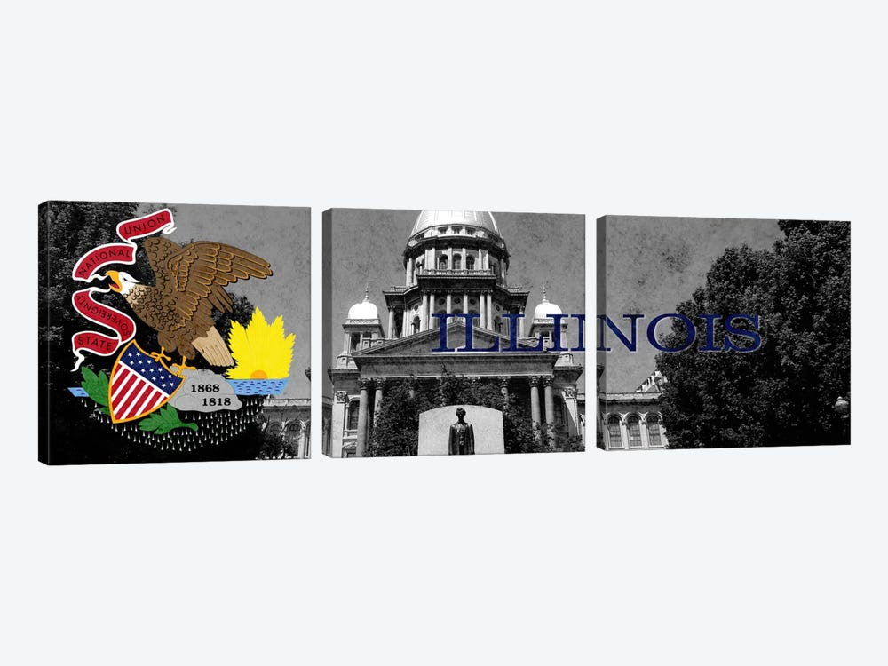 State Flag Overlay Series: Illinois (Capitol Building in Zoom) Panoramic by iCanvas 3-piece Canvas Artwork