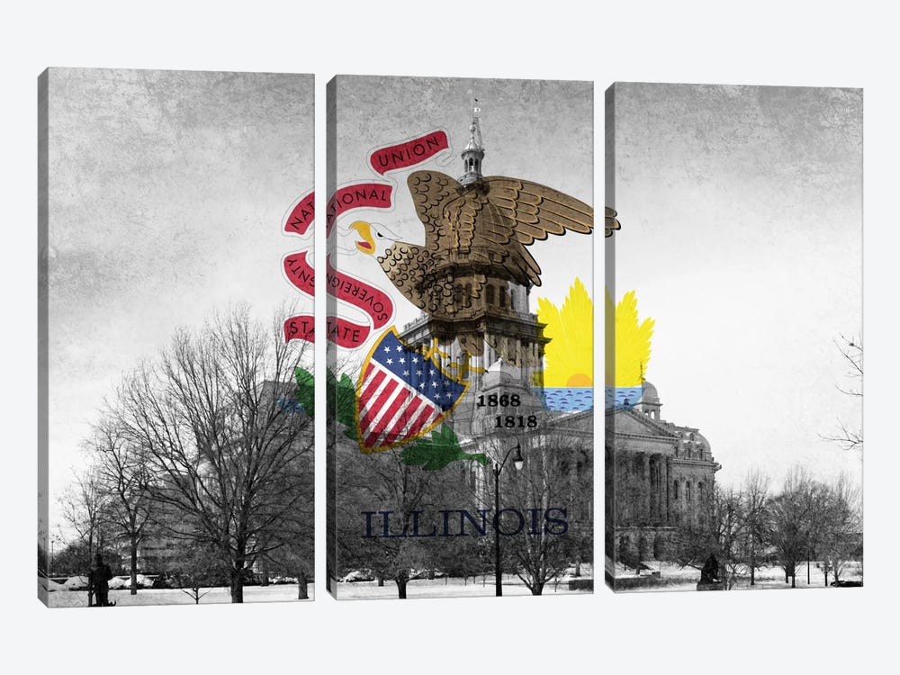 State Flag Overlay Series: Illinois (Capitol Building) by iCanvas 3-piece Canvas Artwork