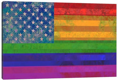 "USA ""Grungy"" Rainbow Flag (LGBT Human Rights & Equality) Canvas Art Print"