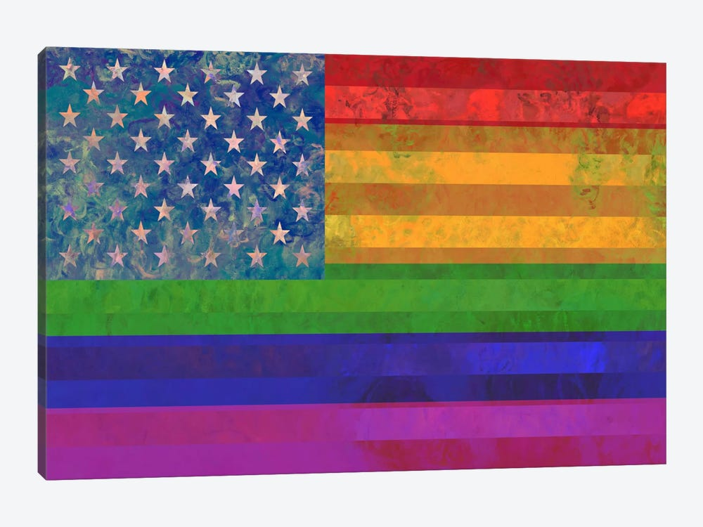 "USA ""Grungy"" Rainbow Flag (LGBT Human Rights & Equality) by iCanvas 1-piece Canvas Art Print"