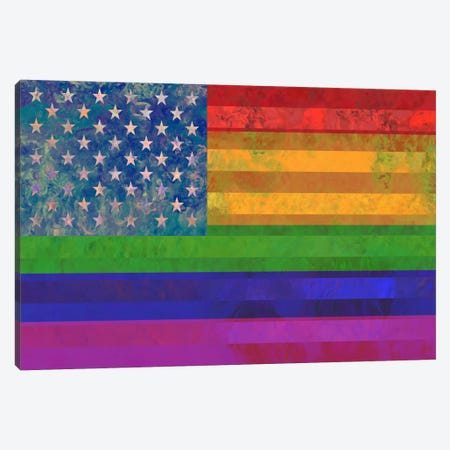 "USA ""Grungy"" Rainbow Flag (LGBT Human Rights & Equality) Canvas Print #FLG12} by iCanvas Canvas Art Print"