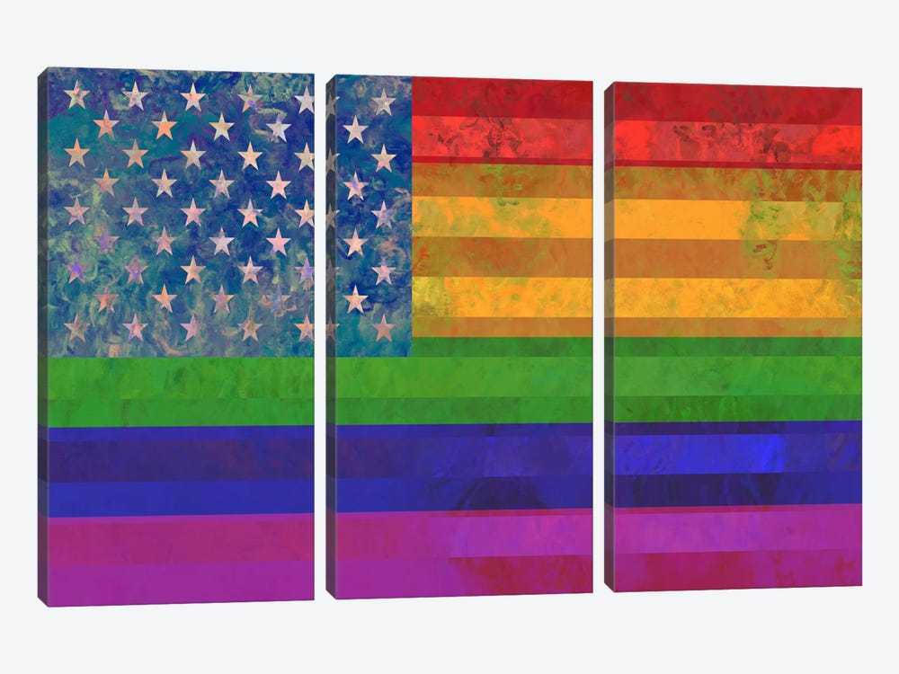 """USA """"Grungy"""" Rainbow Flag (LGBT Human Rights & Equality) by iCanvas 3-piece Art Print"""