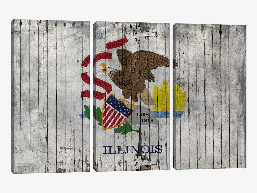 Illinois State Flag on Wood Planks by iCanvas 3-piece Canvas Print