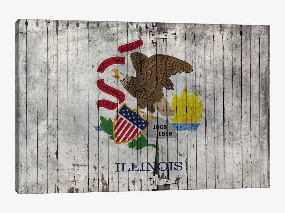 Illinois State Flag on Wood Planks by iCanvas 1-piece Canvas Print