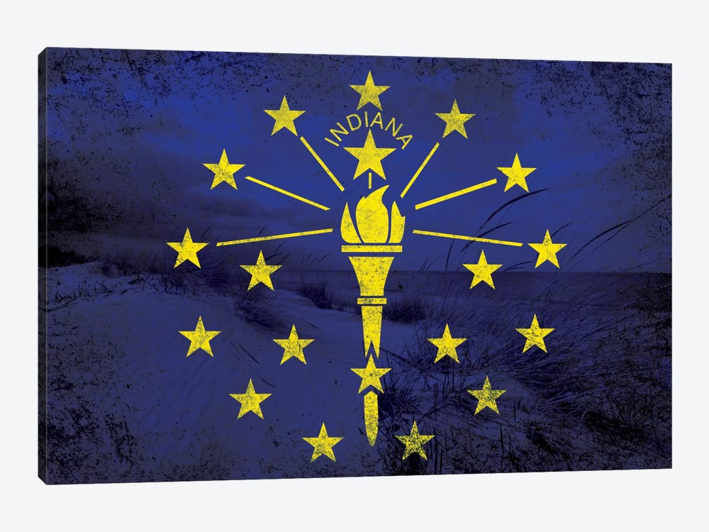 State Flag Overlay Series: Indiana (Indiana Dunes National Lakeshore) by iCanvas 1-piece Canvas Artwork