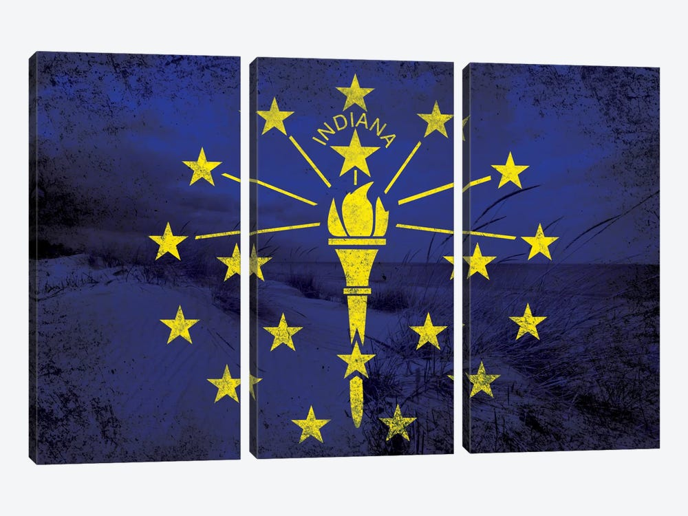 State Flag Overlay Series: Indiana (Indiana Dunes National Lakeshore) by iCanvas 3-piece Canvas Artwork