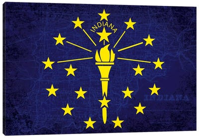 State Flag Overlay Series: Indiana (Vintage Map) Canvas Print #FLG138