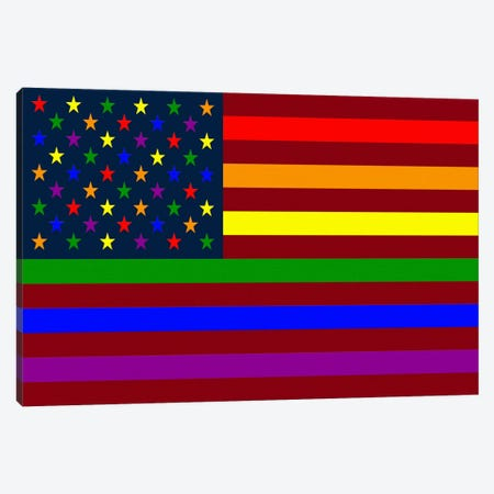 "USA ""Minimalist"" Rainbow Flag (LGBT Human Rights & Equality) Canvas Print #FLG13} by iCanvas Canvas Print"