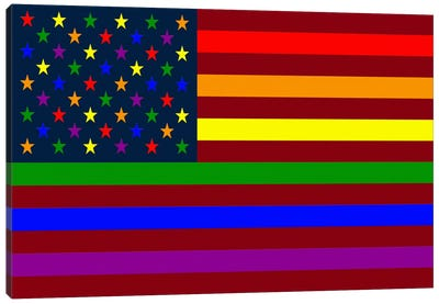 "USA ""Minimalist"" Rainbow Flag (LGBT Human Rights & Equality) Canvas Art Print"