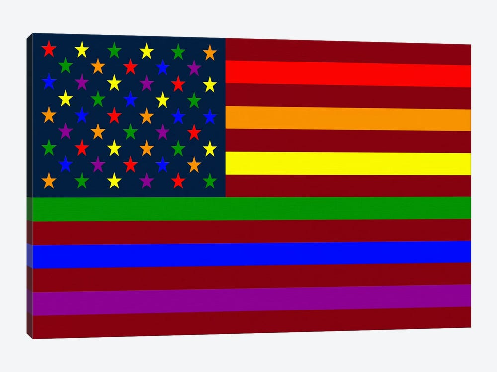 "USA ""Minimalist"" Rainbow Flag (LGBT Human Rights & Equality) by iCanvas 1-piece Canvas Wall Art"