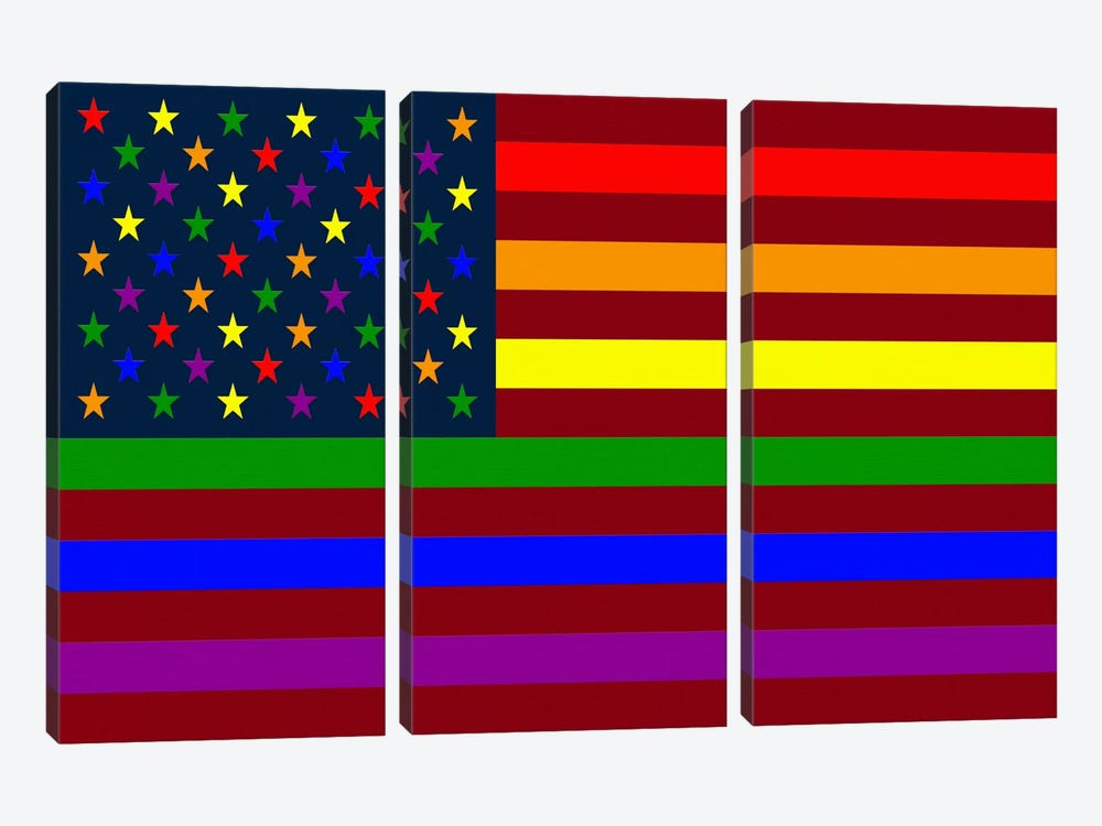 "USA ""Minimalist"" Rainbow Flag (LGBT Human Rights & Equality) by iCanvas 3-piece Canvas Artwork"