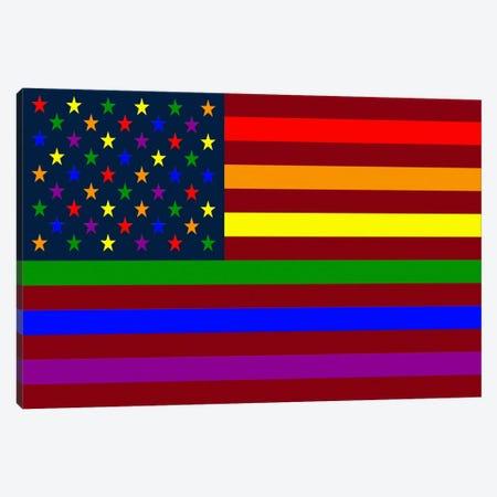 "USA ""Minimalist"" Rainbow Flag (LGBT Human Rights & Equality) Canvas Print #FLG13} by iCanvas Canvas Print"