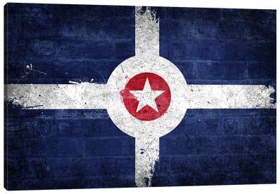 Indianapolis, Indiana Fresh Paint City Flag on Bricks Canvas Print #FLG143