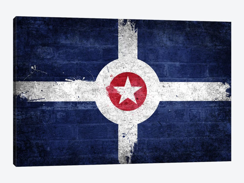 Indianapolis, Indiana Fresh Paint City Flag on Bricks by iCanvas 1-piece Canvas Artwork