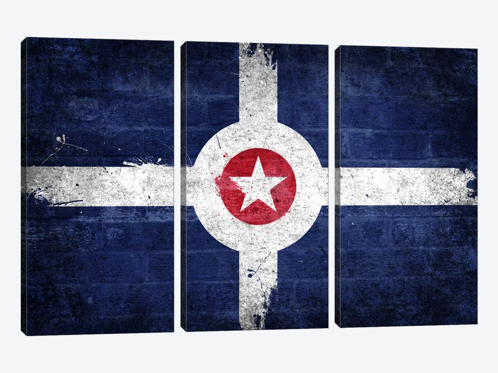 Indianapolis, Indiana Fresh Paint City Flag on Bricks by iCanvas 3-piece Canvas Artwork