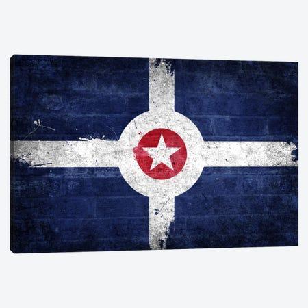 Indianapolis, Indiana Fresh Paint City Flag on Bricks Canvas Print #FLG143} by iCanvas Canvas Art Print
