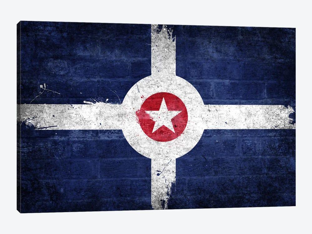Indianapolis, Indiana Fresh Paint City Flag on Bricks by iCanvas 1-piece Canvas Artwork