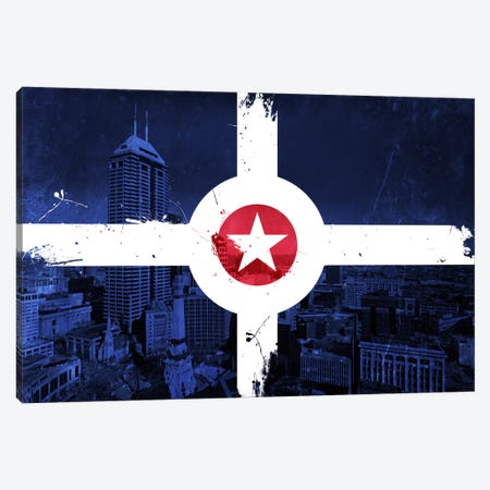 City Flag Overlay Series: Indianapolis, Indiana (Monument Circle) Canvas Print #FLG144} by iCanvas Canvas Artwork