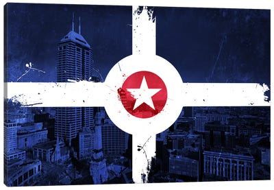 City Flag Overlay Series: Indianapolis, Indiana (Monument Circle) Canvas Print #FLG144