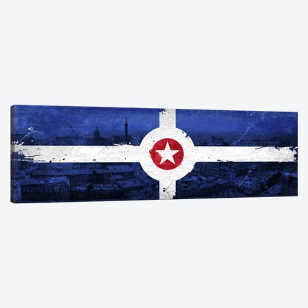 Vintage Indianapolis City Flag 3-Piece Canvas #FLG145} by iCanvas Canvas Artwork