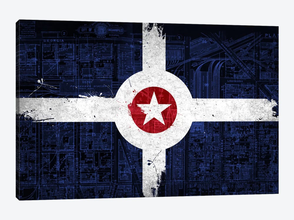 City Flag Overlay Series: Indianapolis, Indiana (Roadway Blueprint) by iCanvas 1-piece Canvas Artwork