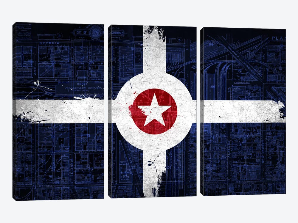 City Flag Overlay Series: Indianapolis, Indiana (Roadway Blueprint) by iCanvas 3-piece Canvas Artwork