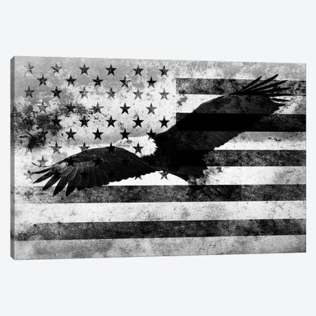 "USA ""Melting Film"" Flag in Black & White (Bald Eagle) Canvas Print #FLG14} by iCanvas Canvas Artwork"