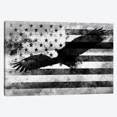 "USA ""Melting Film"" Flag in Black & White (Bald Eagle) Canvas Print #FLG14} by iCanvas Canvas Artwork"
