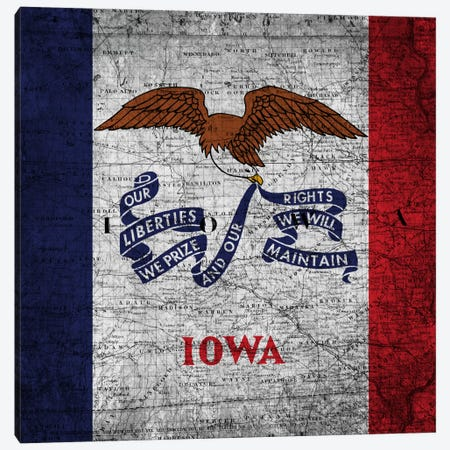 Iowa (Vintage Map) Canvas Print #FLG153} by iCanvas Canvas Wall Art