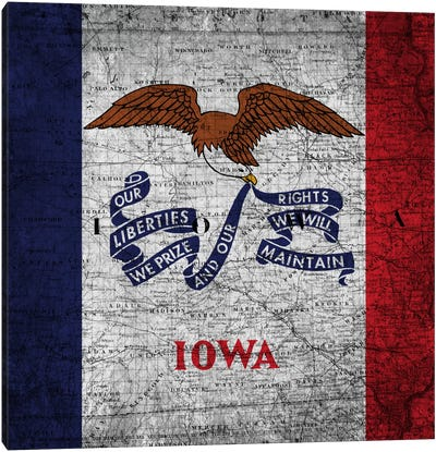 State Flag Overlay Series: Iowa (Vintage Map) Canvas Print #FLG153