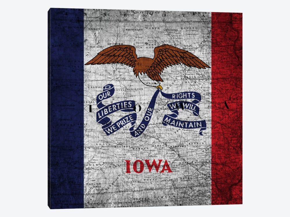 State Flag Overlay Series: Iowa (Vintage Map) by iCanvas 1-piece Art Print