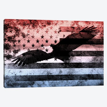 "USA ""Melting Film"" Flag (Bald Eagle) Canvas Print #FLG15} by iCanvas Canvas Artwork"