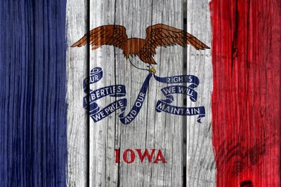 Iowa State Flag On Wood Planks Canvas Print By Icanvas