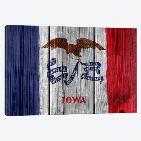 Iowa State Flag on Wood Planks Canvas Print #FLG162} by iCanvas Canvas Print