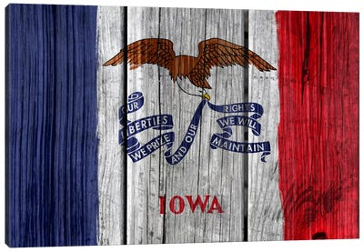 Iowa State Flag on Wood Planks Canvas Print #FLG162