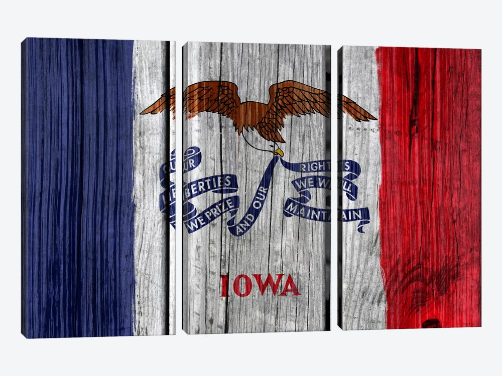 Iowa State Flag on Wood Planks by iCanvas 3-piece Canvas Art Print