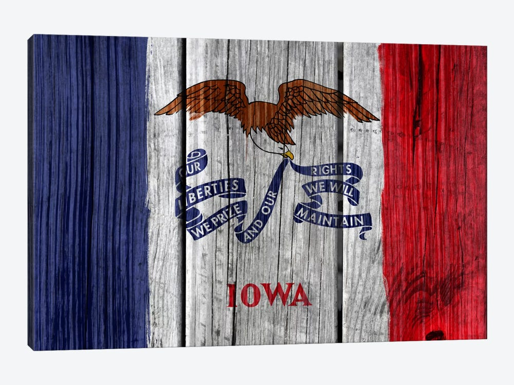 Iowa State Flag on Wood Planks by iCanvas 1-piece Canvas Art Print
