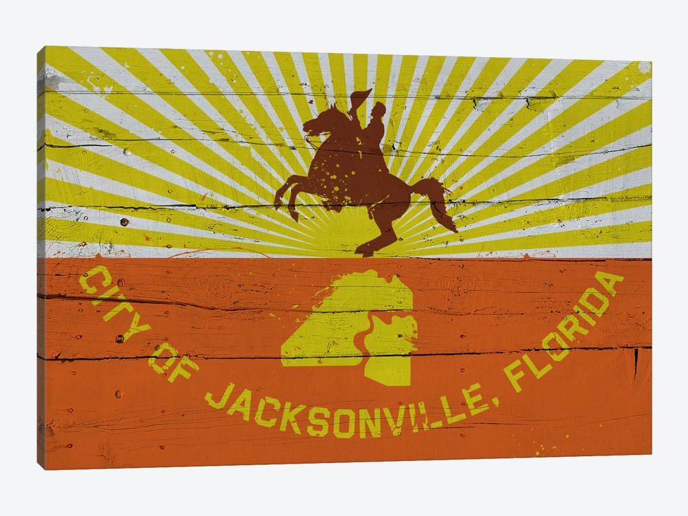 Jacksonville, Florida Fresh Paint City Flag on Wood Planks by iCanvas 1-piece Canvas Wall Art